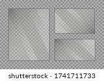 flat glass plates set. windows...   Shutterstock .eps vector #1741711733