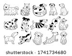 collection of cute dogs. set of ... | Shutterstock .eps vector #1741734680