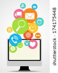business internet on  different ... | Shutterstock .eps vector #174175448