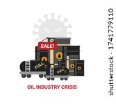oil crisis. sell off of oil due ... | Shutterstock .eps vector #1741779110
