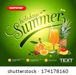 vector summer background with... | Shutterstock .eps vector #174178160
