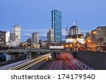 Boston, Massachusetts skyline over the turnpike. - stock photo