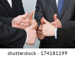 successful team in dark suits... | Shutterstock . vector #174181199