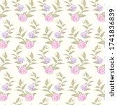 rose seamless vector design... | Shutterstock .eps vector #1741836839