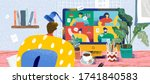 video conference from home for... | Shutterstock .eps vector #1741840583