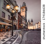 prague  old city hall on the... | Shutterstock . vector #174186638
