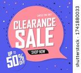 clearance sale 50  off  speech... | Shutterstock .eps vector #1741880033