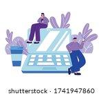 people using smartphone laptop... | Shutterstock .eps vector #1741947860