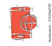 globe smartphone icon in comic...
