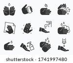 hand wash icons set. vector... | Shutterstock .eps vector #1741997480