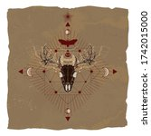 Vector illustration with hand drawn deer skull, dead head moth and Geometric symbol on vintage paper background with torn edges. Image in sepia  and red color.