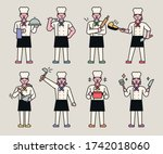 various styles of chef... | Shutterstock .eps vector #1742018060