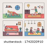diverse people doing home... | Shutterstock .eps vector #1742020910