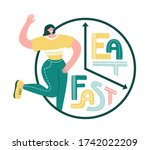 intermittent fasting. happy... | Shutterstock .eps vector #1742022209