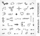 vector set of hand drawn arrows ... | Shutterstock .eps vector #1742028230