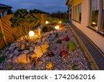 Home Garden At Night ...