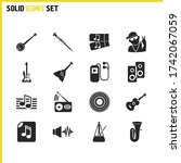 melody icons set with metronome ...