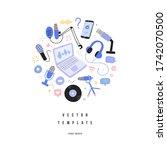 podcasting equipment audio... | Shutterstock .eps vector #1742070500