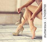 woman and long legs  | Shutterstock . vector #174208700