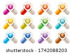 vitamin icons. capsule pill... | Shutterstock .eps vector #1742088203