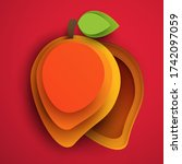 cartoon mango fruit in modern... | Shutterstock .eps vector #1742097059