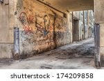 narrow alley in the old town  ... | Shutterstock . vector #174209858