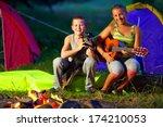 happy teenagers singing songs... | Shutterstock . vector #174210053