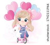 Cute Little Girl Riding A...