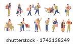 set of various happy people... | Shutterstock .eps vector #1742138249