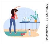 workout online  vector. girl... | Shutterstock .eps vector #1742149829