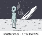 alien crashed on a planet in...   Shutterstock .eps vector #1742150423