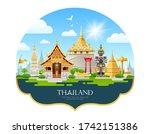 welcom to travel thailand... | Shutterstock .eps vector #1742151386