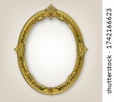 oval wooden frame of gold photo ... | Shutterstock .eps vector #1742166623