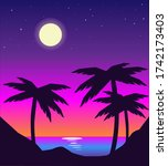 vector night beach landscape...   Shutterstock .eps vector #1742173403