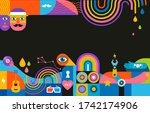 geometric abstract background ... | Shutterstock .eps vector #1742174906