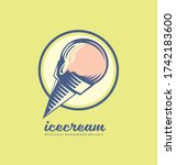 icecream logo design with pink... | Shutterstock .eps vector #1742183600