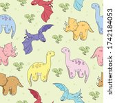 seamless pattern with dinosaurs ... | Shutterstock .eps vector #1742184053