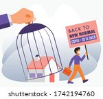 covid 19 is over  a people went ... | Shutterstock .eps vector #1742194760