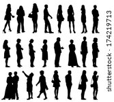 black silhouettes of beautiful... | Shutterstock .eps vector #174219713