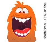 funny cartoon monster face...   Shutterstock .eps vector #1742204420