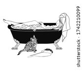 Illustration Bengal Cat Bath...