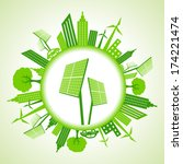 eco cityscape with solar panel... | Shutterstock .eps vector #174221474