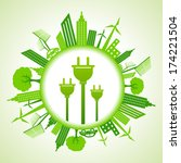 eco cityscape with electric... | Shutterstock .eps vector #174221504