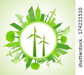 eco cityscape with wind mill... | Shutterstock .eps vector #174221510