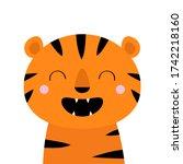tiger roaring yawing. cute...   Shutterstock . vector #1742218160