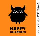 monster silhouette. happy...   Shutterstock . vector #1742218463