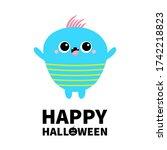 happy halloween. blue monster...   Shutterstock . vector #1742218823