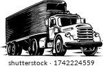 vintage semi truck illustration ...   Shutterstock .eps vector #1742224559