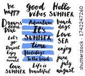 Set Of Summer Slogan Ink...