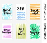 Set Of Hand Drawn Cards With...